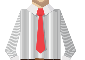 Cartoon businessman standing and unhappy