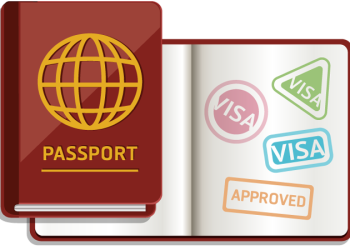Passport with stamps for entry approved and visa