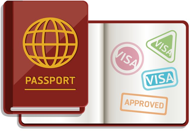 Passport with stamps for entry approved and visa | Free ...