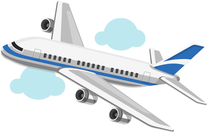 Cartoon airplane on blue sky with transparent background.