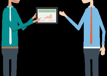 Cartoon Businessman present tablet to another businessman