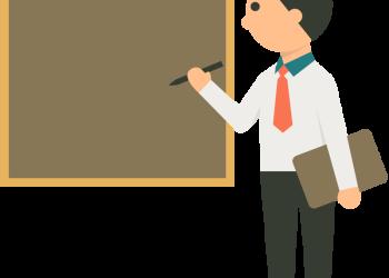 Businessman writing in a blank board