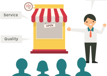Businessman standing and present opening beside his shop
