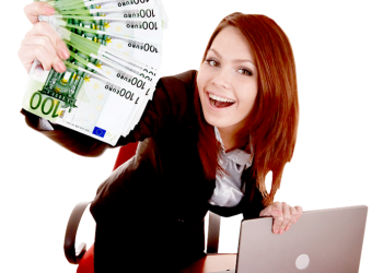 Happy business woman showing the money