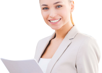 Beautiful smiling business woman with tablet computer