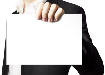 Businessman holding a blank white card board