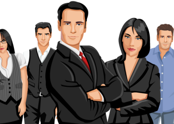 Cartoon confident Business Team