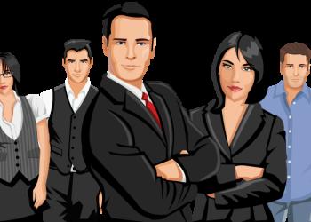 Cartoon confident Business Team