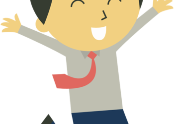 Cartoon happy businessman running with hands raised up