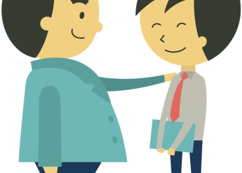 Cartoon confident boss holding hand on shoulder of young businessman