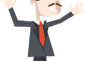Businessman excited with hands up