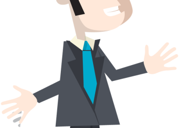 Businessman in suit and tie with hands up