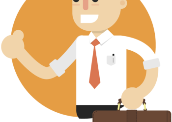 Cartoon businessman holding bag and showing thumb up