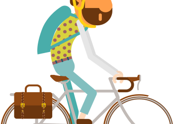 A man rides on a bicycle for travel