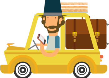 Cartoon man traveling with car