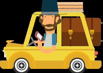 Cartoon man traveling with car