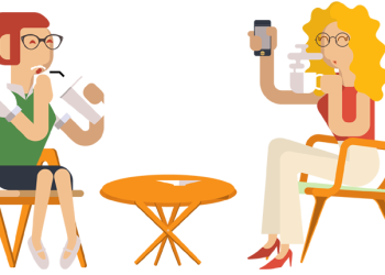 Two young woman friends drinking coffee