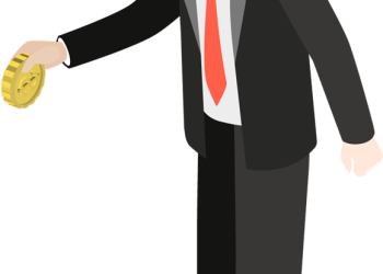 Cartoon businessman holding gold coin