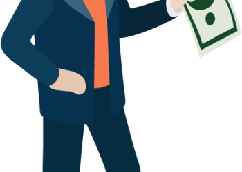 Cartoon Businessman With Money Cash