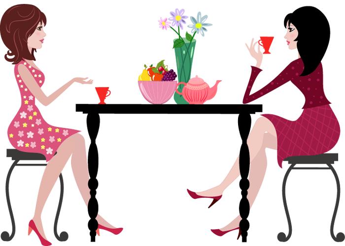 Cartoon Woman Having Coffee Together At Table