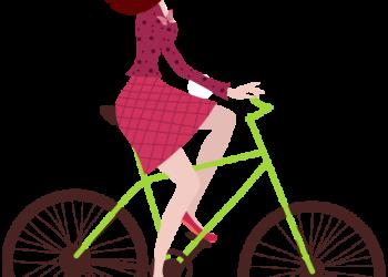Cartoon young woman riding a bike