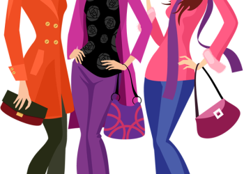 Cartoon fashion woman going shopping together