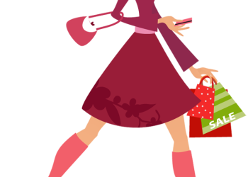 Cartoon pretty woman holding shopping bags and credit card