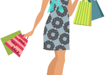 Cartoon young woman holding shopping bags.