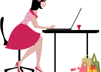 Cartoon young woman with laptop computer shopping online
