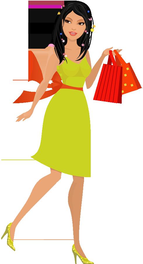 Cartoon Beautiful Young Woman With Shopping Bags 1designshop