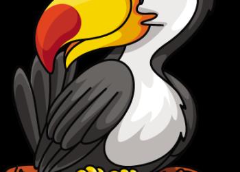 Cartoon hornbill Bird on Branch