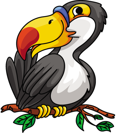 Cartoon Hornbill Bird On Branch 1designshop
