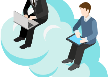 Two cartoon businessman sitting on a cloud working with laptop PC