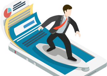 Young successful businessman surfing on handphone