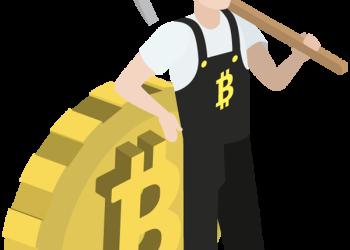 Miner man posing with a golden bitcoin coin