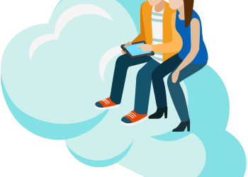 Man showing woman tablet pc on cloud