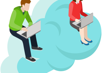 Young man and woman working on a laptop computer sitting on a cloud