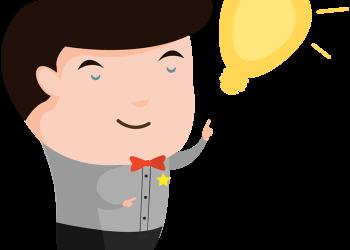 Cartoon man with an idea light bulb over his head