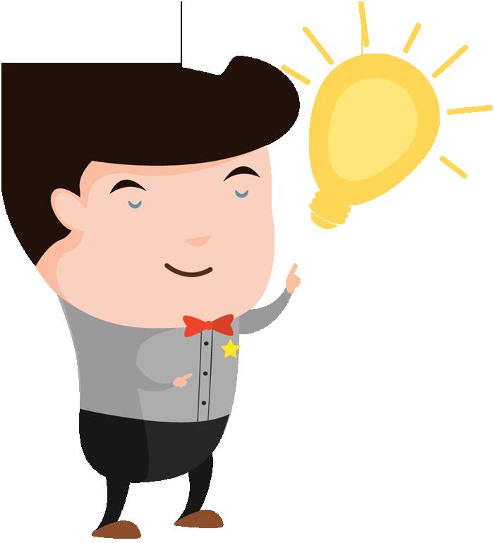 Cartoon man with an idea light bulb over his head. Thinking idea ...