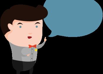 Cartoon man with a bubble to speech