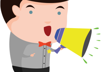 Cartoon man with a loudspeaker