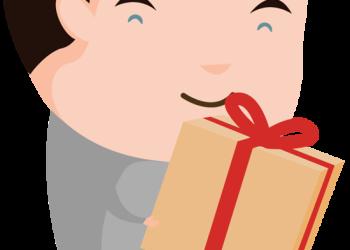 Happy cartoon man holding gift box