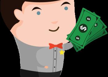 Cartoon man holding cash money
