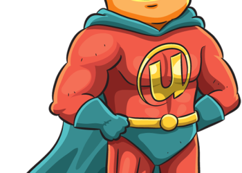 Amazing superhero with cape standing with hands on hip