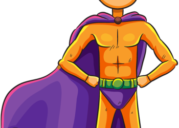 Thin superhero standing with hands on hips