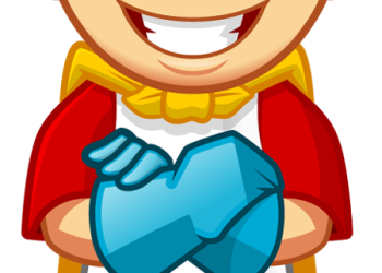 Cartoon smiling superhero boy with arms crossed