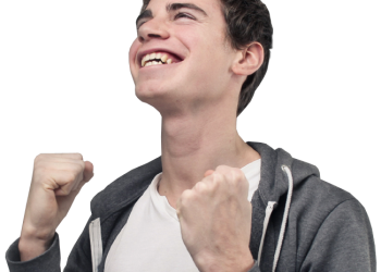 Excited man enjoying his success with clenched fists
