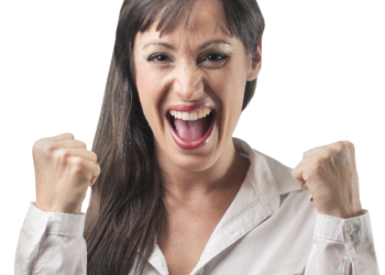 Excited long hair woman with clenched fists
