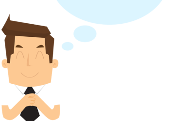 Cartoon Smiling Businessman With Speech Bubble