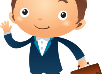 Cartoon smiling businessman waving his hand with a bag
